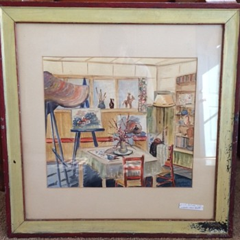 Salvaged Watercolor signed & dated 1941  - Fine Art
