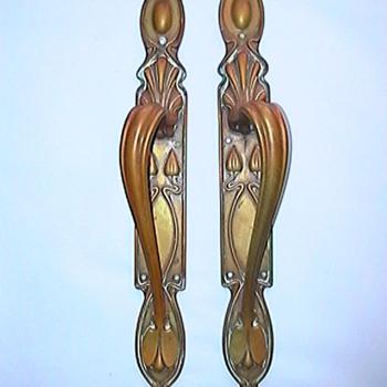 Art Nouveau brass door handles - Art Nouveau