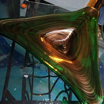 Boomerang shaped large art glass bowl - Art Glass