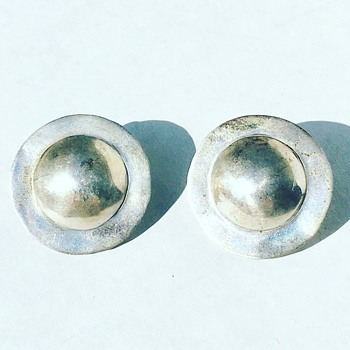 Vintage Sterling Silver Earrings Signed AH