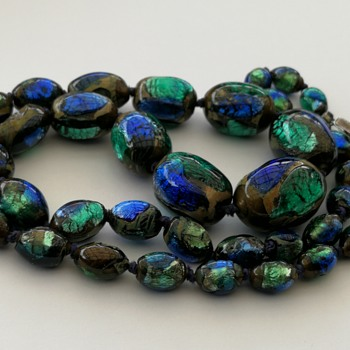 Czech foilglass bead necklace  - Costume Jewelry