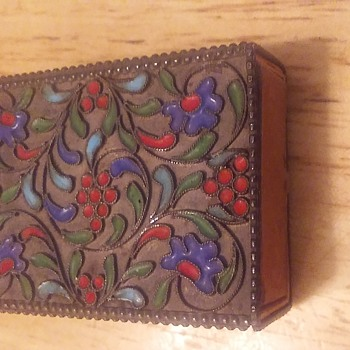 Antique. Enameled Silver Match Box Holder  - Tobacciana