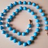 Faceted Turquoise Glass Bead Necklace, Thrift Shop Find 50 Cents