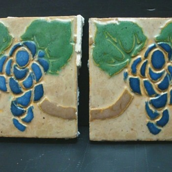 Pair of grueby grape tiles 6x6 - Arts and Crafts