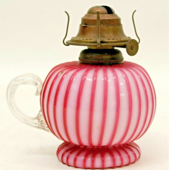 Victorian Pink Ribbed Cut Velvet Oil Lamp - Art Glass