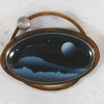 Mid Century Moonscape Silver Brooch - Fine Jewelry