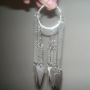 Akha Hiltribe earrings - headdress decortaions - Costume Jewelry