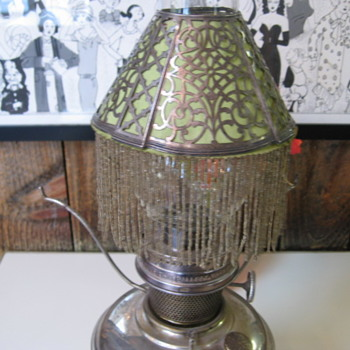 Antique Sterling Silver & Beaded Mica oil lamp shades - Lamps