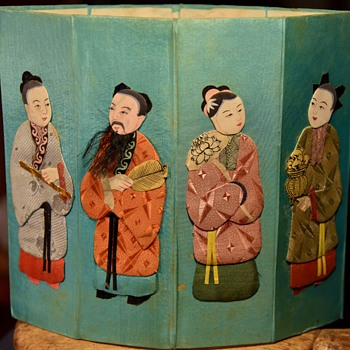 Silk figures 8 of them on an octagon - who?  when?  where? - Asian