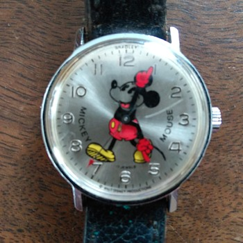 Bradley Time Germany Pie Eyed Mickey with Tail Down - Wristwatches