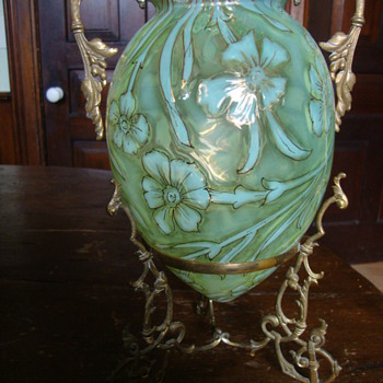 Vaseline Opalescent vase in brass stand - Art Glass