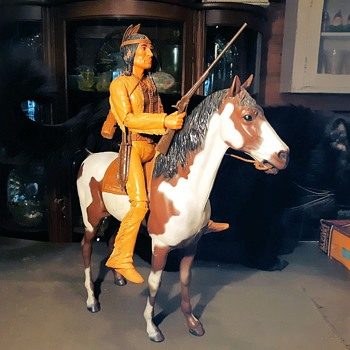 Marx Pinto Horse or Storm Cloud Indian Horse Johnny West Best of the West Plus Find the Hidden Cat - Toys
