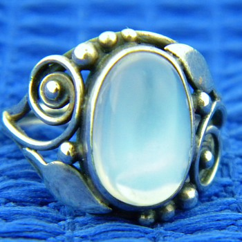 Antique Victorian Ceylon Moonstone Sterling Leaf Ring  - Fine Jewelry