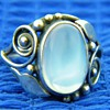 Antique Victorian Ceylon Moonstone Sterling Leaf Ring