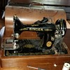 Singer sewing machine in bentwood case