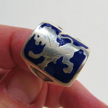A Ring for a King~Sterling with Lion and Blue Enamel, Quite Old - Silver