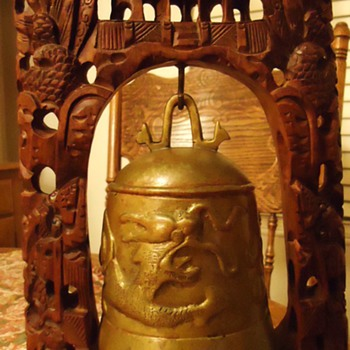 Buddhist Bell on carved wood frame,  Where made?  How old?