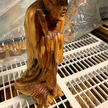Hand carved wooden asian statue - Asian