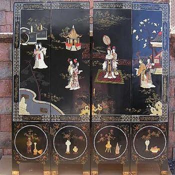 Antique Japanese Oriental Coromandel Screen