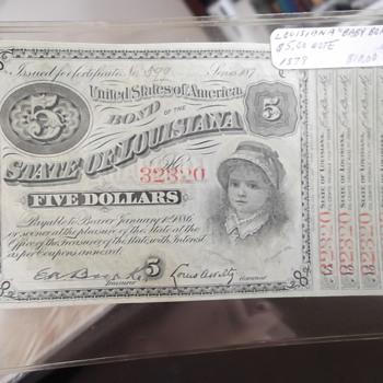 "1879 Louisiana ""Baby Bond"" 5 Dollar Bond"