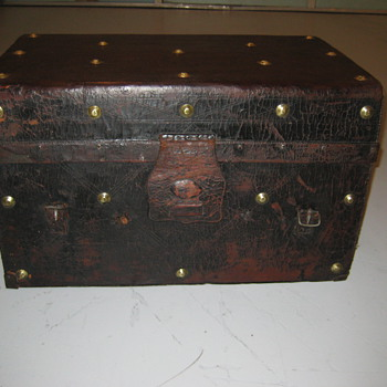 Mid 1800 Leather Gold Rush Trunk - Furniture