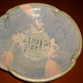 "Pottery 10 1/2"" Bowl-Depicts woman and flower - Pottery"