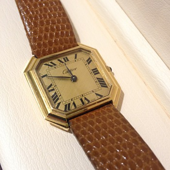 Vintage Cartier Ceinture Octagonal Leather Wristwatch - Wristwatches