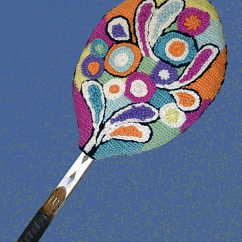 Vintage 70s Tennis Racket with Folk Art Psychedelic Handwoven Cover - Folk Art
