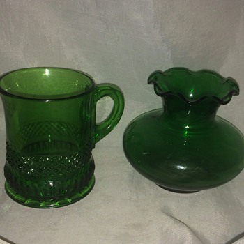 Antique Green Glass Cup and Vase - Glassware
