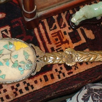 Chinese Jade And Turquoise Brass Mirror Circa 1860 - Accessories
