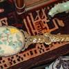 Chinese Jade And Turquoise Brass Mirror Circa 1860