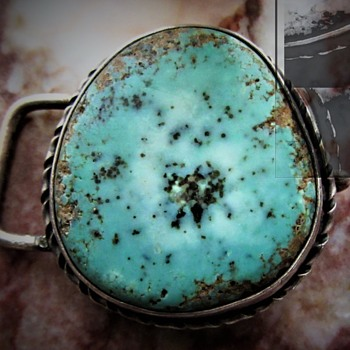 MYSTERY NATIVE AMERICAN STERLING TURQUOISE BELT BUCKLE - Fine Jewelry