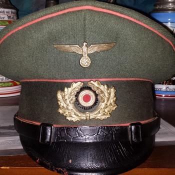 A visor cap of a Nazi Panzer-Abwehr (tank destroyer) battalion NCO