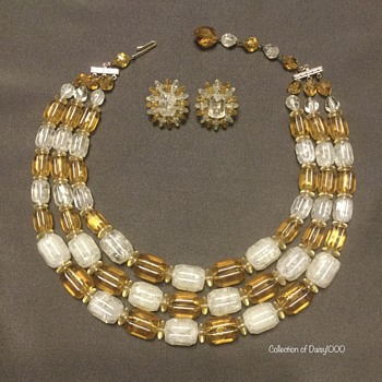 Post - WWII Western Germany Plastic — Triple Strand Necklace & Earring Set - Costume Jewelry
