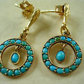 Art Nouveau turquoise earrings - Fine Jewelry