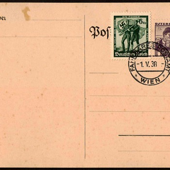 1938 - Union of Germany & Austria Postmarked Card - Postcards