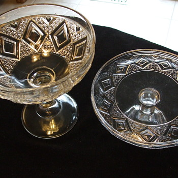 "Grand ""Diamond Medallion"" Pattern Glass- Cake Stand? and Footed Bowl - Glassware"