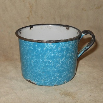Blue Graniteware Cup Circa 100 Years Old Plus - Kitchen