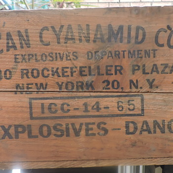 The crate is from the American Cyanamid Company and their Explosive Department that was once located at 30 Rockefeller Plaza - Advertising