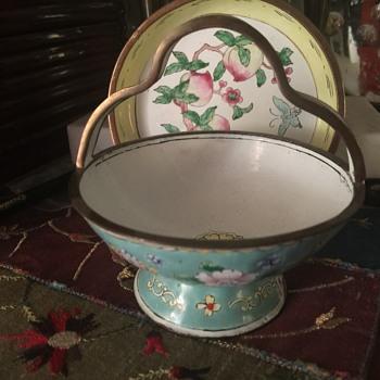 Enamel on copper trinket dish and basket