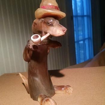 Pipe smoking Dog Dachshund - bone carved - can anyone identify? date?