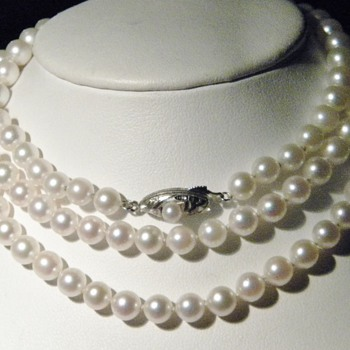 "Vintage Art Deco Opera Length Pearl Necklace 32"" Silver  - Fine Jewelry"