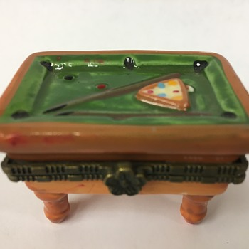 Porcelain Pool Table Trinket Box (Limoges?) - Fine Jewelry
