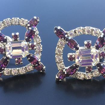 Jay Flex clear-amethyst screwback sterling earrings - Costume Jewelry