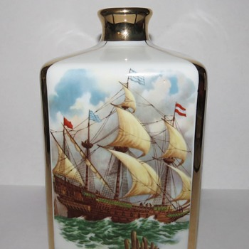 Ceramic Cognac Decanter / Bottle with Sailing Ships - Bottles