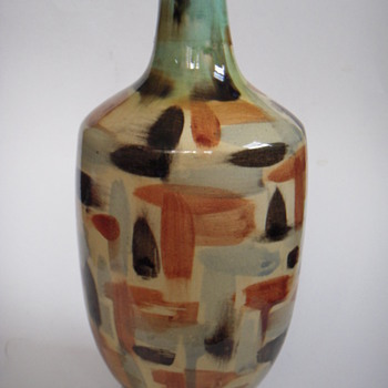 Large Mid Century Vase~ Hand-painted & Handsome - Mid-Century Modern