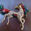 BIG Enameled Horse Brooch Flea Market Find $6.00