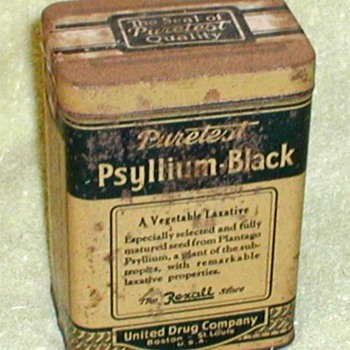 Rexall Puretest Psyllium-Black Laxative Tin - Advertising