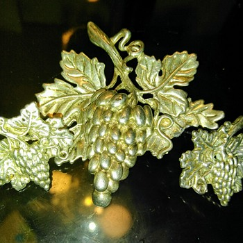 This is a grape cluster pin and earring to match. - Costume Jewelry