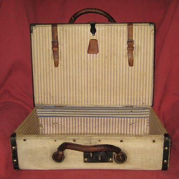 Antique Canvas Covered Suitcase Interior - Bags
